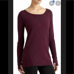 ATHLETA Nopa Pullover Red Merino Wool High Low Gap